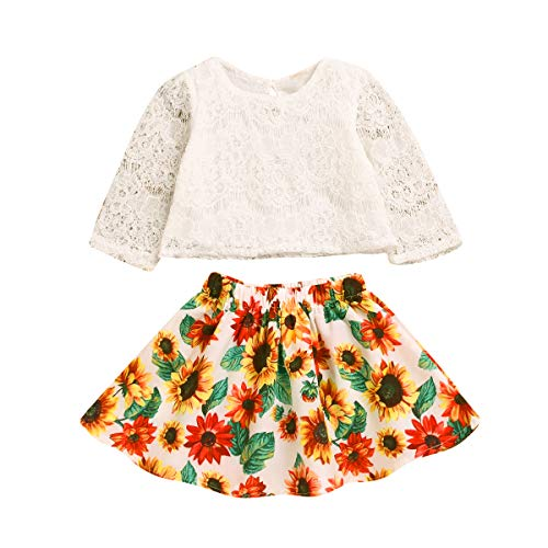 Skirt Sets for Baby Girls Long Sleeve Lace Top + Sunflower Tutu Skirts Spring Outfits Set (Lace Top+Sunflower Skirt, 12-18 Months)