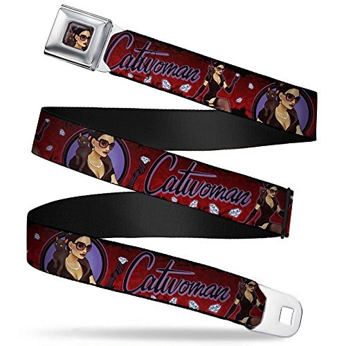 """Buckle-Down Seatbelt Belt - CATWOMAN Bombshell Pose/Diamonds Red/Purple/Black - 1.5"""" Wide - 32-52 Inches in Length"""