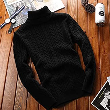 APRAW Mens Classic Casual Turtleneck Solid Sweater Slim Fit Knitted Thicken Pullover Thermal Winter