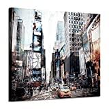 Cityscape Artwork Abstract Architecture Picture: NYC Graphic Art Print on Canvas for Bedroom(24'x18')