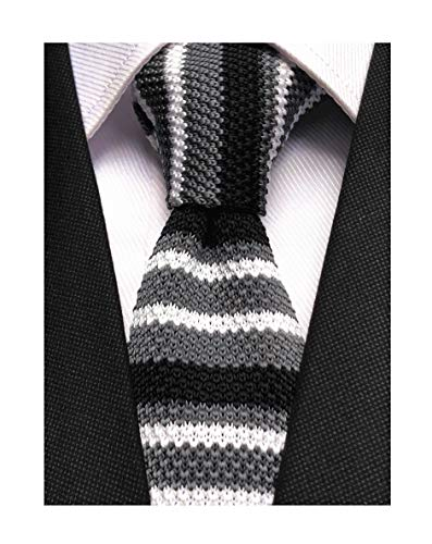 Novelty Ties for Men Casual Colorful Woven Neck Tie Knit Polyester Formal Party New Necktie Dark Grey White Black