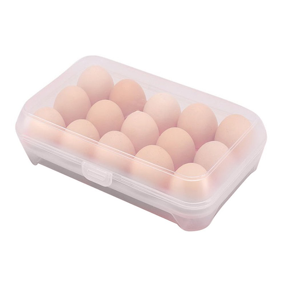 Gemini_mall® Kitchen Plastic Egg Holder Trays, 15 Eggs Storage Box,Non Slip Eggs Carrier Container for Refrigerator (Clear - holds 15 eggs)