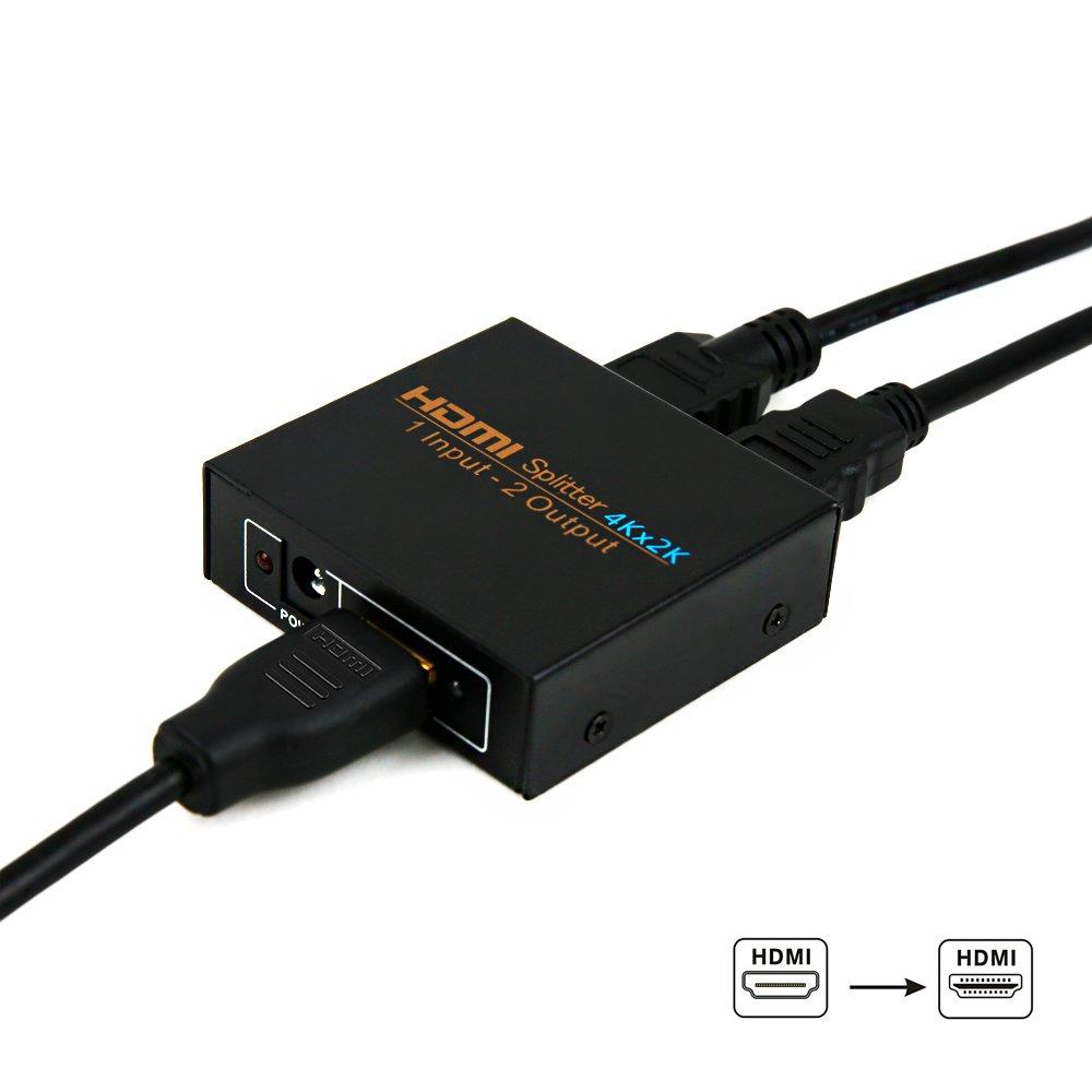 Splitter HDMI, NIERBO HDMI Duplicator Compatible con 4K 3D 1080p 1 Entrada x 2 Salidas HDMI Distribuidor para PS4 PS3 Xbox Nintendo Switch y más ...