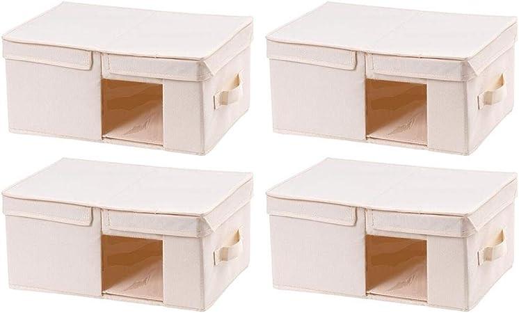 QZ Cajas De Almacenamiento con Tapas, Caja De Almacenamiento Plegable para Ropa Juguetes Arte Y Libros, Ventana Transparente, Conjunto De 4 (Color : Beige, Size : 40x25x19cm): Amazon.es: Hogar