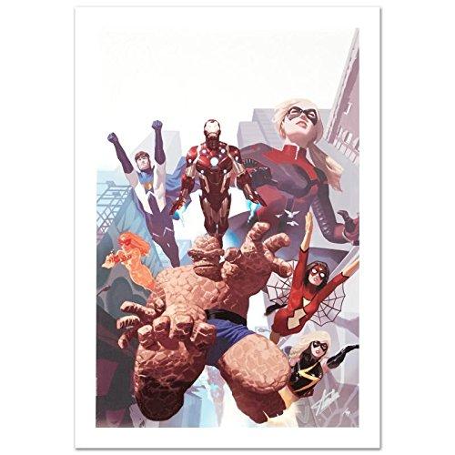 - STAN LEE signed AVENGERS Marvel ORIGINAL COMIC Artworks IRON MAN THING JUSTICE