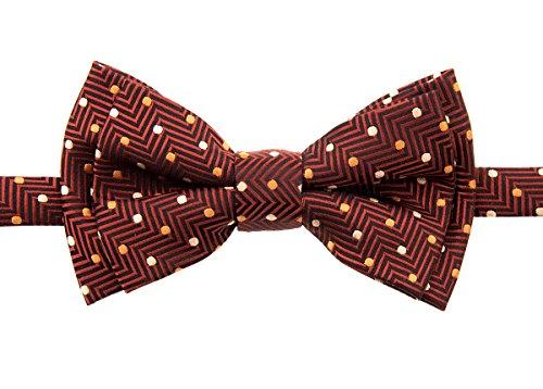 Retreez Zig Zag Striped Textured with Polka Dots Woven Pre-tied Boy's Bow Tie - Dark Orange - 4 - 7 years
