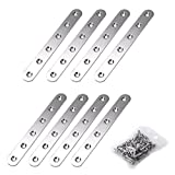 Sumnacon Stainless Steel Flat Plate, Heavy Duty Mending Plate Straight Corner Brace Brackets Connector Furniture Repair Fixing Joint with Screws(6 Inch, Brushed)