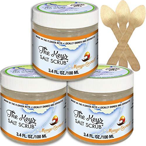 The Keys Salt Scrub : Premium Exfoliating Sea Salt Body Skin Scrubs (Mango Coconut, Travel Size 3 Pack 3.4 oz)