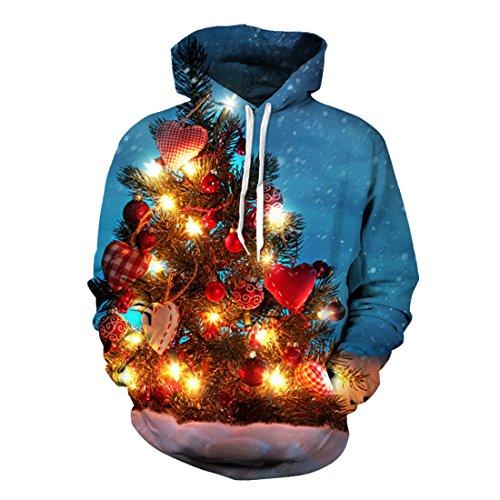 Uideazone Men Print Christmas Tree Hooded Sweatshirt Xmas Ugly Sweater Hoodie Blue (Ugly Xmas Sweaters For Men)