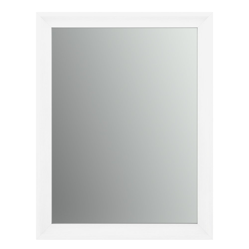 Delta Wall Mount 23 in. x 33 in. Small (S2) Rectangular Framed Flush Mounting Bathroom Mirror in Matte White with Standard Glass