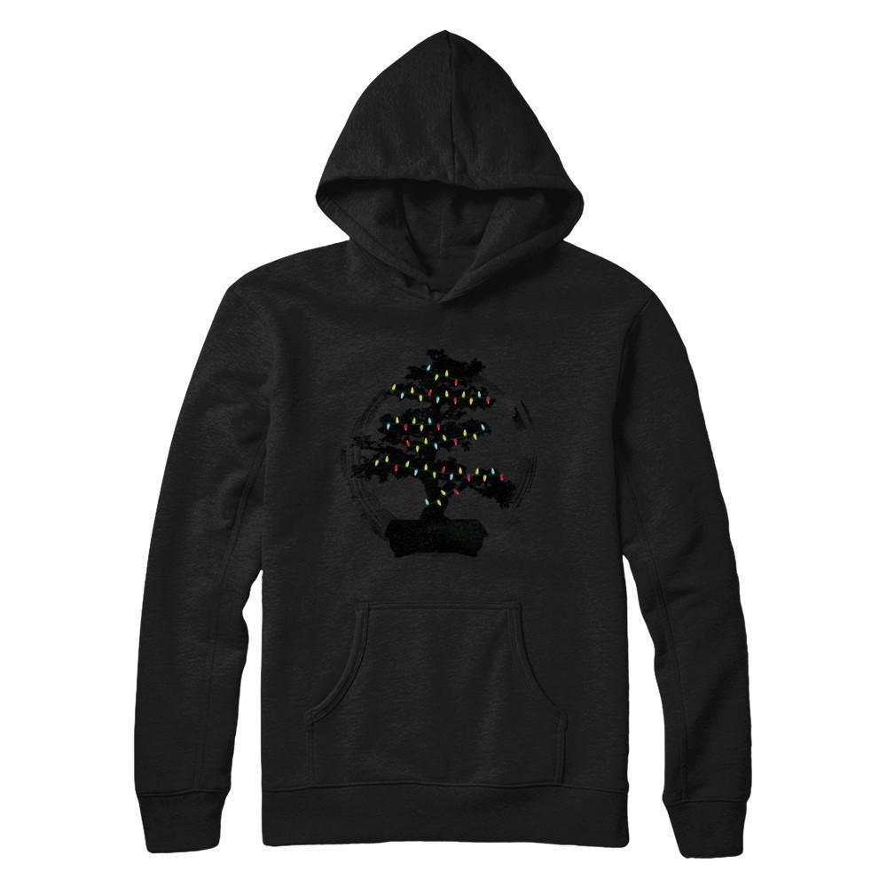 Teely Shop Women's Woman's Bonsai Tree Enso Circle Lights Christmas Gildan - Pullover Hoodie/Black/3XL