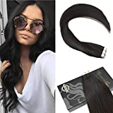 """Ugeat 18"""" 50Gram Tape in Extensions Off Black Color #1B Remy Human Hair Tape in Human Hair Extensions Silky Straight Seamless Skin Weft Glue in Hair Extensions 20Pcs"""