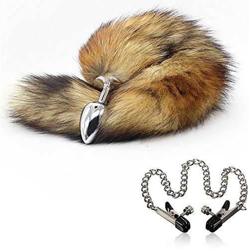 Lover Fire LL Wild Naughty Chrome Plating Fox Tail w/ Soft Fur - G-Spot Stimulating Fetish Great Pleasure Buttplug Great Valentine's / Birthday Gift & Bonus Nipple Clamps