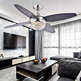 Akronfire Crystal Ceiling Fan Remote Control Modern Fan Light with 4 Reversible Wooden Blades for Decorating Living Room Dining Room with Led Chandelier 42 Inch (Black)