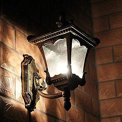 Pinjeer Brass Vintage Creative E27 Glass Aluminum Outdoor Wall Lantern Lights European Waterproof Anti Rust Retro Industrial Wall Lamp Garden Street Villa Door Decorative Wall Sconce