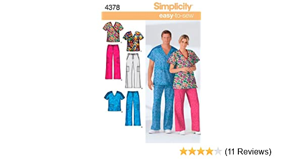 Amazon.com: Simplicity Easy-to-Sew Pattern 4378 Misses, Mens and Teens Scrub Tops and Pants Chest 38-48 M-L-XL: Arts, Crafts & Sewing