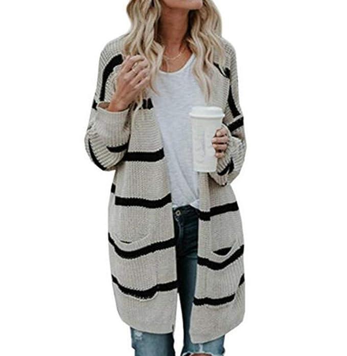 Cárdigan de Punto a Rayas con Capucha de Punto de Mujer Cárdigan de otoño cálido con Abrigo de Invierno cálido: Amazon.es: Ropa y accesorios