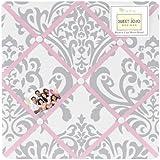Pink, Gray and White Elizabeth Fabric Memory/Memo Photo Bulletin Board by Sweet Jojo Designs