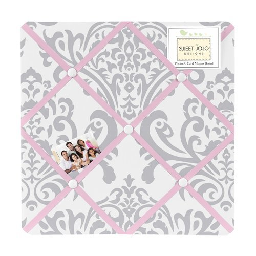 Pink, Gray and White Elizabeth Fabric Memory/Memo Photo - Memo Photo Bulletin Board