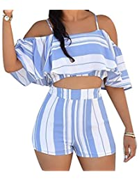 NANYUAYA Women Summer Stripe Cold Shoulder Crop Top High Waist Shorts 2PCS