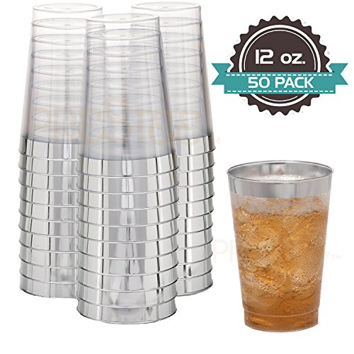 Disposable Plastic Tumbler Cups | 12 oz - 50 Pack | Elegant Clear Cups with Silver Rim | Fancy Wedding Party Cups | Ideal for Champagne, Soft Drinks, Cold Beverages, Wine & More! [Drinket Collection] (Lightweight Rolled Rim)