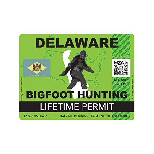 fagraphix Delaware Bigfoot Hunting Permit Sticker Die Cut Decal Sasquatch Lifetime FA Vinyl - 4.00 Wide