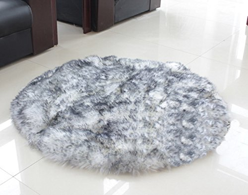 Long Wool Sheepskin Rug (IMQOQ Sheepskin Long Wool Circle Circular Floor Rug Carpet Mat 20