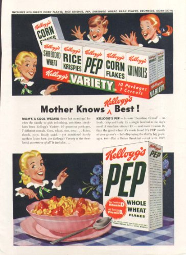 Mother knows best Kellogg's Variety Pack & Pep ad 1948 (Pack Pep)