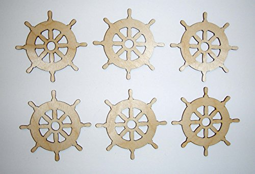 Ship Wheel Cut Outs Unfinished Wood Mini Wheels 2.5