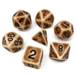 Hengda dice Polyhedral 7-Dice Set Brown Ancient Gaming Dice for Dungeons and Dragons DND RPG MTG Table Games Dice