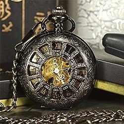 jklek Black Steam Skeleton Mechanical Pocket Watch Men Antique Luxury Necklace Pocket & Fob Watches Chain Male Clock