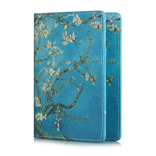 Passport Cover Holder Travel Wallet for Men & Women - Leather Passport Case- Securely Holds Passport, Business Cards, Credit Cards, Boarding Passes (Apricot Flower)
