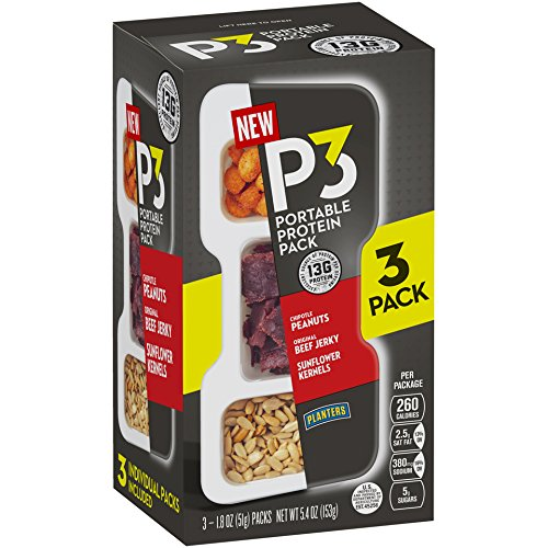 Beef Roasted Jerky (Planters P3 Chipotle Peanuts, Original Beef Jerky & Sunflower Kernels Portable Protein Pack, 5.4 oz)
