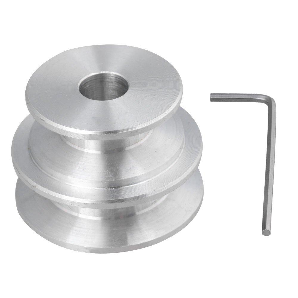 cnbtr aluminio D40 x 30 x 10 mm en forma de V diseñ o de doble ranura 2 paso Groove Pulley Bore 10 mm cinturó n ancho 10 mm con llave para eje del motor Ronda cinturó n yqltd