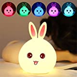 Children Silicone Night Light Kids Cute Rabbit Touch Sensor LED Lamp 7-Color Changing Breathing Light USB Rechargeable Warm Lighting for Bedroom Bedside Baby Nursery Bunny Easter Gift Portable (Pink)