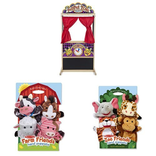 Melissa & Doug Puppet Theater with Farm Friends and Zoo Friends Hand Puppets