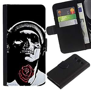 A-type (Rose Auriculares Negro del cráneo de la música) Colorida Impresión Funda Cuero Monedero Caja Bolsa Cubierta Caja Piel Card Slots Para Samsung Galaxy S3 III i9300 i747