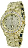 Totally Iced Out Pave Gold Tone Hip Hop Men's Bling Bing Watch (gold)