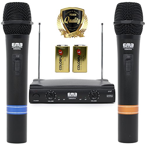 VHF Dual Wireless Microphone Handheld Professional HIFI EMB - Perfect for Church/Home/Outdoor/Karaoke Party - 55APK5
