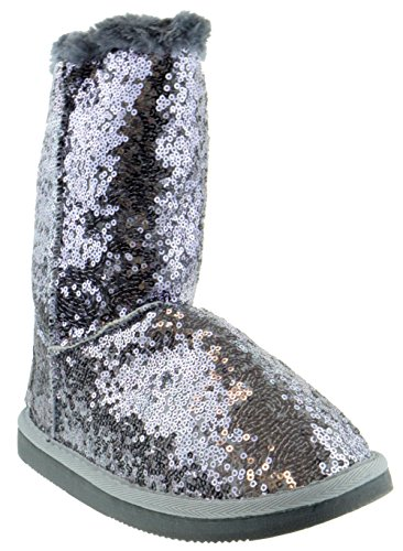 Shoe Dezigns Bling Womens Sequin Faux Fur Shearling Boots Pewter 8