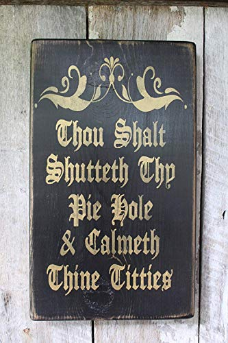 Emily Thou Shalt Shutteth Thy Pie Hole Calmeth Thine Titties Funny Hippie Decor Wiccan Dragon Gypsy Art Babe Cave Dorm 18 in Wood Signs for Home Decor Quote Garden Plaque Sign from Emily