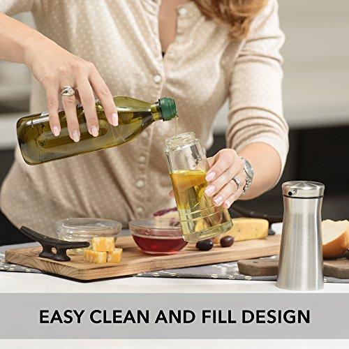 CHEFVANTAGE Olive Oil and Vinegar Cruet Dispenser Set with Elegant Glass Bottle and Drip Free Design - Red by CHEFVANTAGE (Image #3)