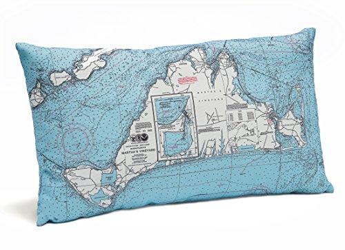 (Martha's Vineyard Indoor/Outdoor Nautical Chart Throw Pillow)