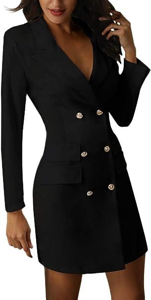 Minetom Damen Blazer Kleid Frauen Elegant Langarm V Ausschnitt Zweireihig Solide Hemdkleid Business Lange Hülse Büro Jacken Knopf Anzug Amazon De Bekleidung