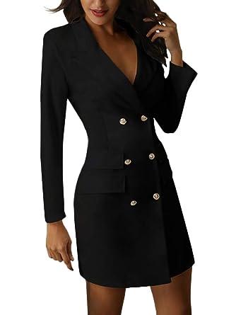 f437b644775aea Minetom Damen Blazer Kleid Frauen Elegant Langarm V-Ausschnitt Zweireihig  Solide Hemdkleid Business Lange Hülse Büro Jacken Knopf Anzug  Amazon.de   ...