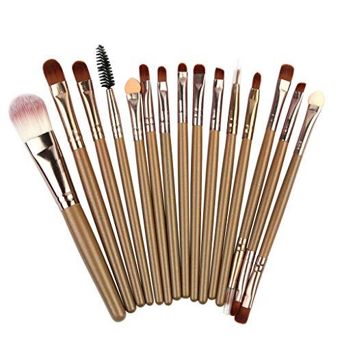 15PCS Makeup Brushes Powder Foundation Eyeshadow Eyeliner Lip Colorful Brush CA (Color - Coffee)