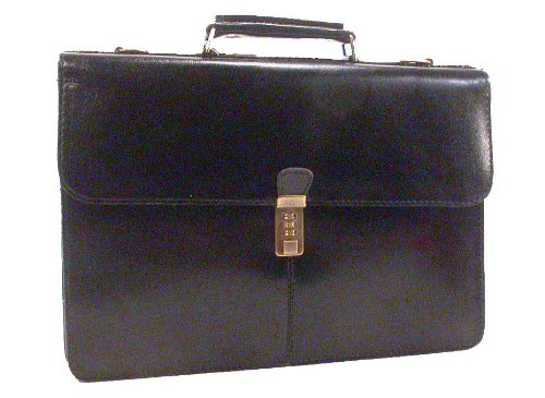Black Deluxe Leather Flap Briefcase /w Combination Lock, Bags Central