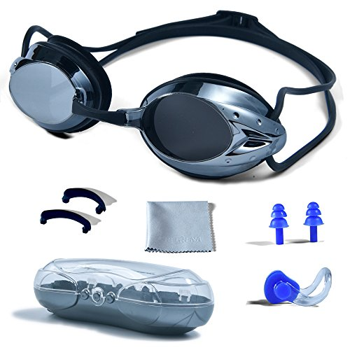 Swimming Goggles, PHELRENA Professional Swim Goggles Anti Fog UV Protection No Leaking for Adult Men Women Kids Swim Goggles with Nose Clip, Ear Plugs, Protection Case and Interchangeable Nose - Goggles Anti Fog Swim Amazon