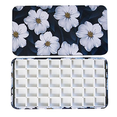 Easy-going Watercolor Tins Palette Paint Case with 40Pcs Half Pans carrying Magnetic stripe on the bottom by Easy-going