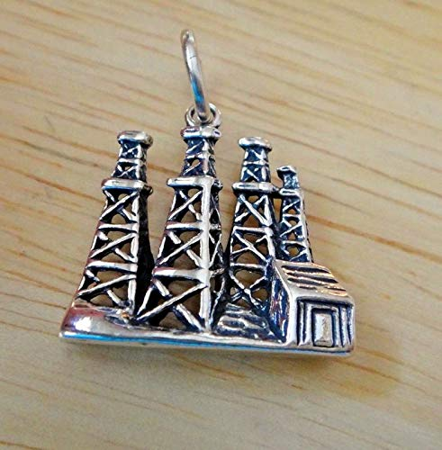 - Sterling Silver 19x18mm Old Style 4 Oil Field Derricks Charm Vintage Crafting Pendant Jewelry Making Supplies - DIY for Necklace Bracelet Accessories by CharmingSS
